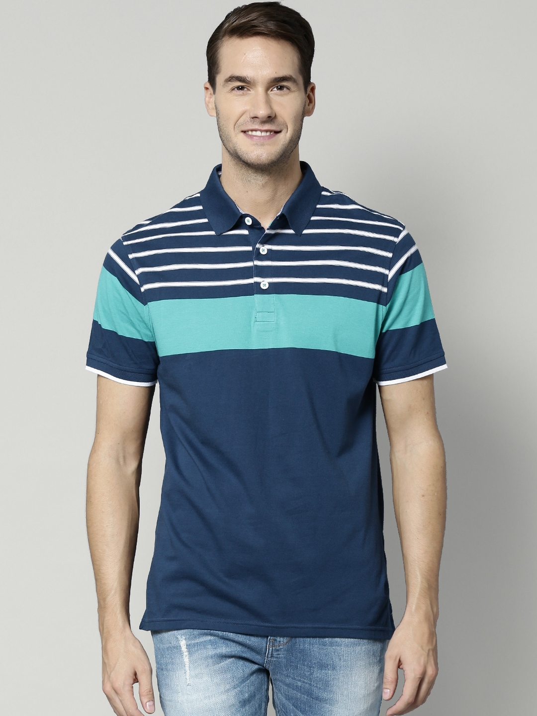 Blue Harbour By Marks Amp Spencer Navy Striped Taliored Polo