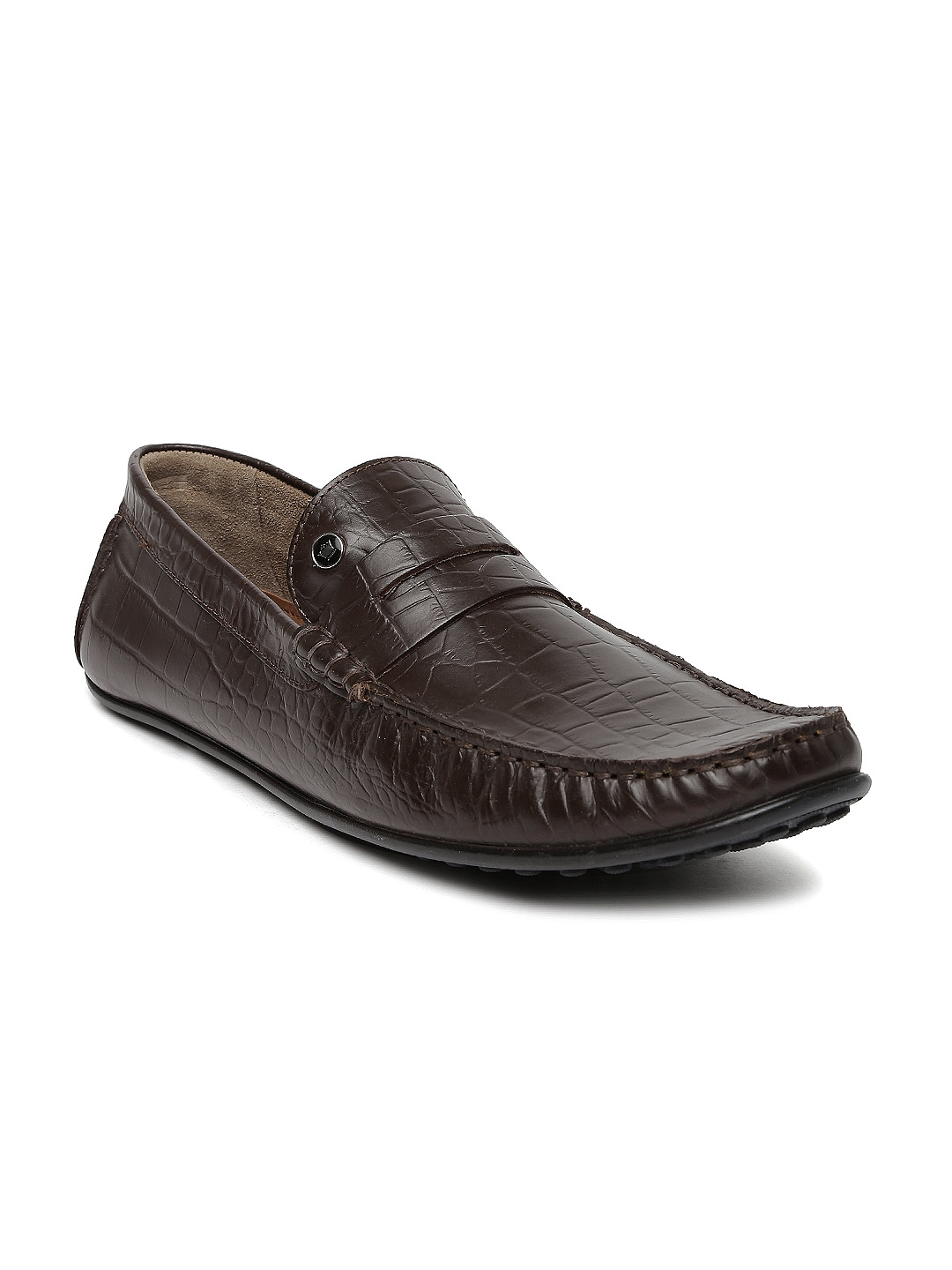louis philippe brown leather semiformal shoes price