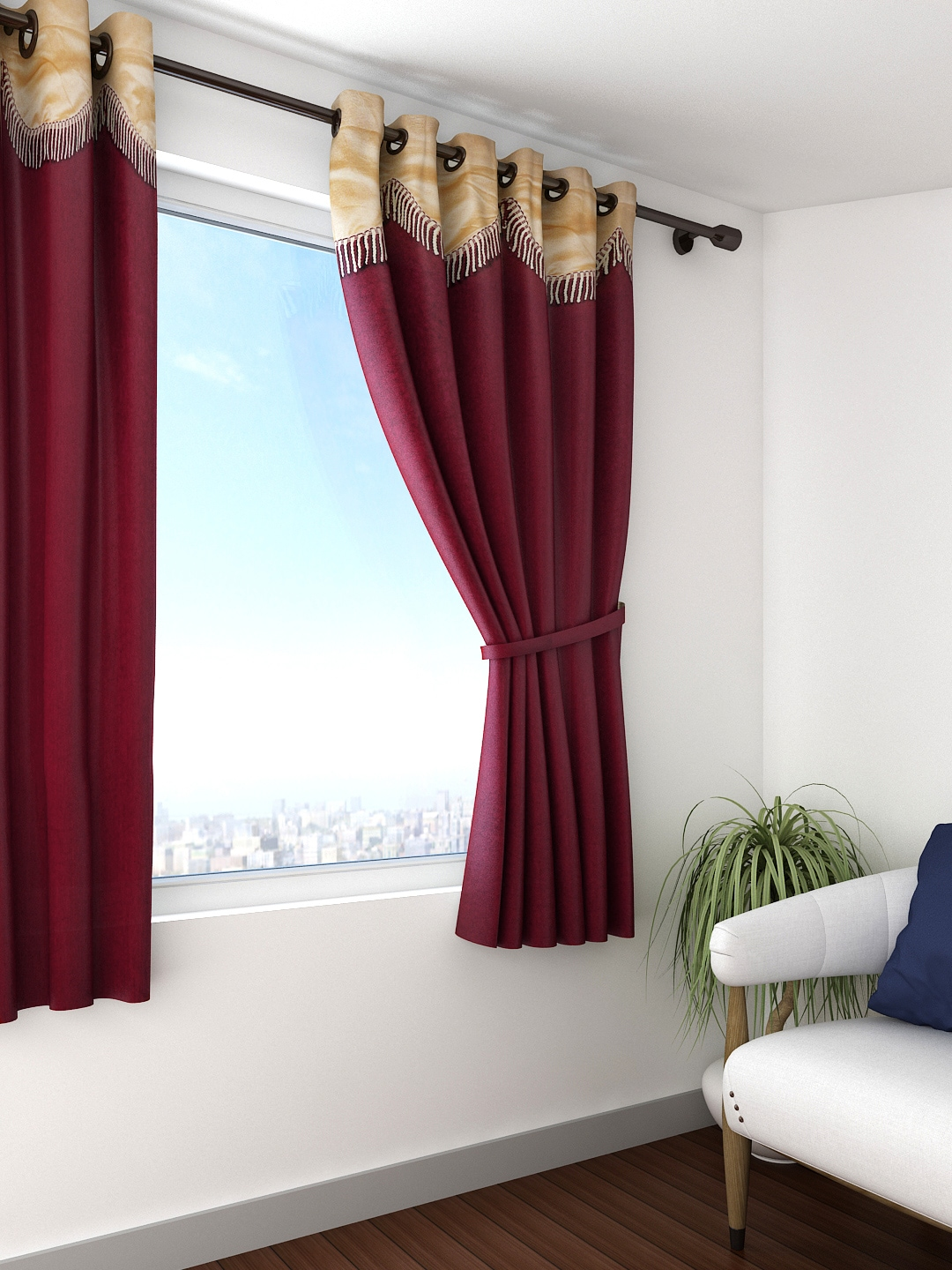 Maroon Curtains For Living Room Buy Cortina Maroon Single Window Curtain Curtains And Sheers For