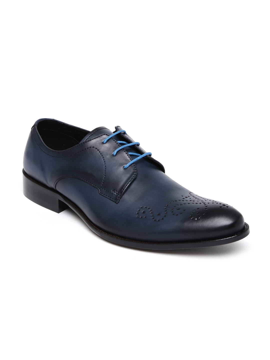 franco navy leather brogues price myntra formal
