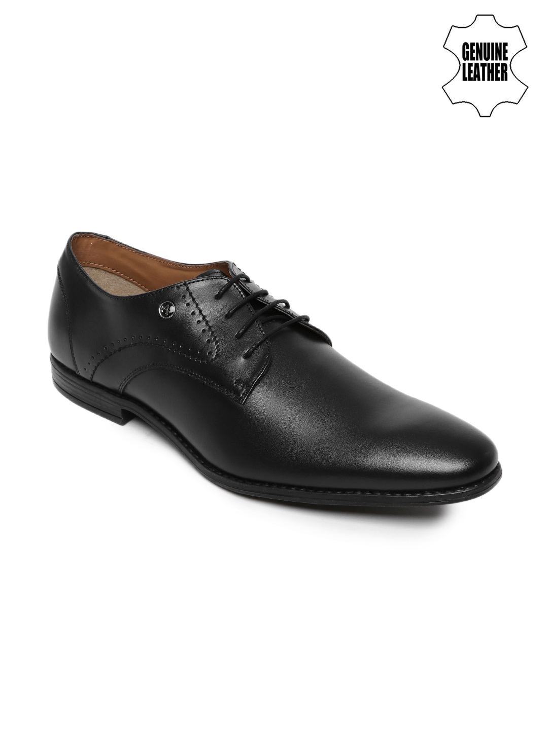 arrow black genuine leather derby formal shoes