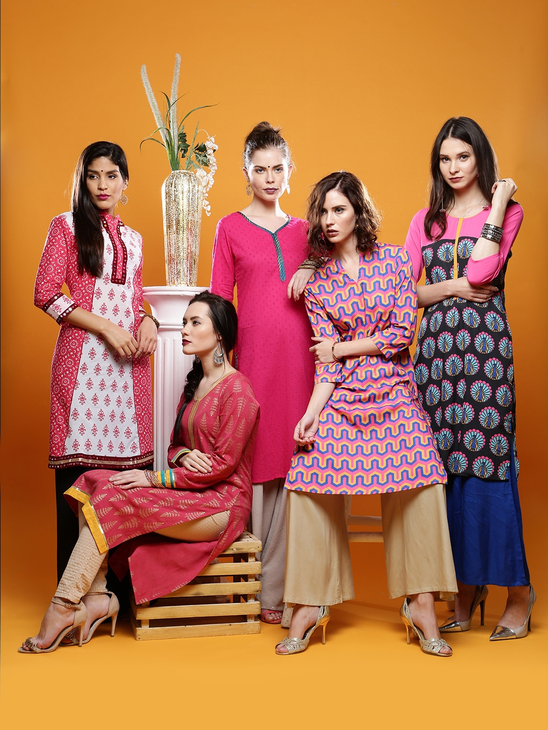 Buy EORS Collection Of 5 Ethnic Kurtas In Shades Of Pink From Anouk ...