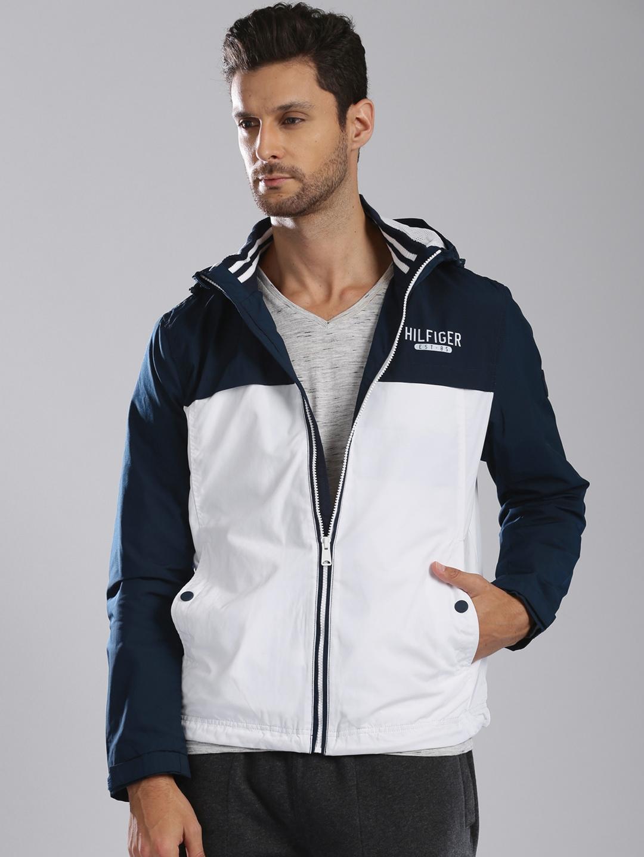 Tommy Hilfiger White Amp Navy Hooded Jacket Price Myntra