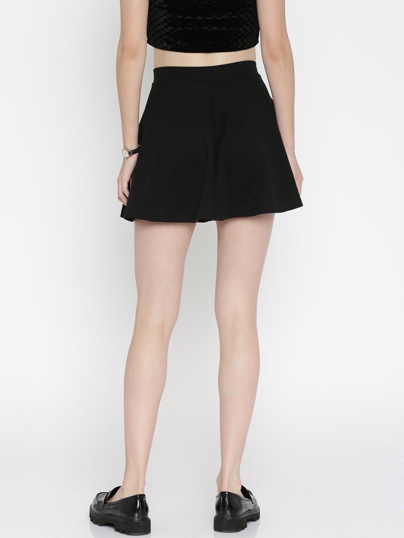 Buy FOREVER 21 Black Flared Mini Skirt - Skirts for Women | Myntra