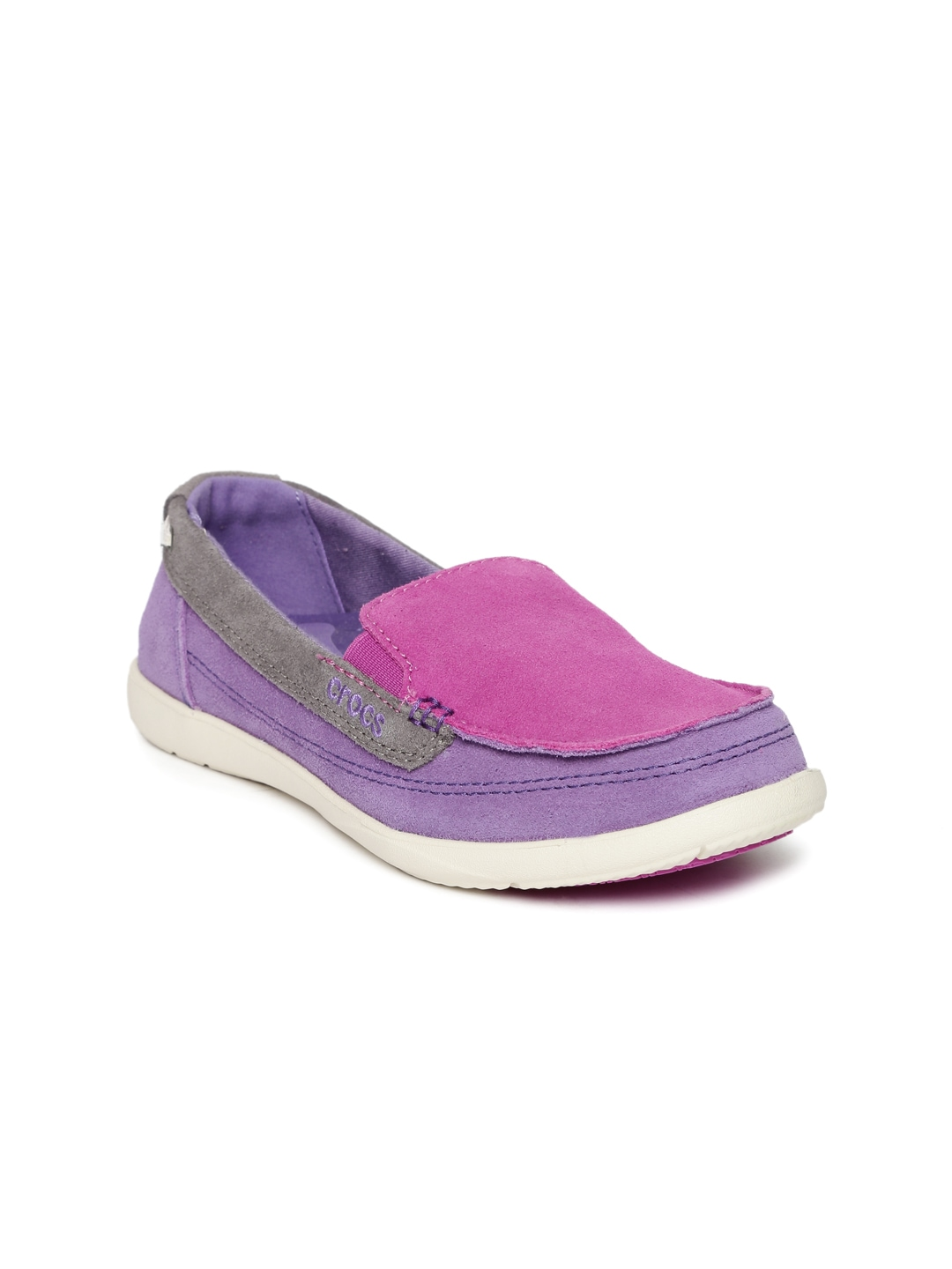 Crocs Women Pink & Purple Colourblocked Walu Suede Slip-On ...
