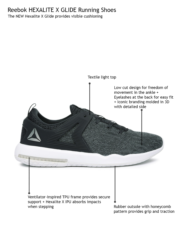 a1f9a3392b5d ... Buy Reebok Men Charcoal Grey Hexalite X Glide Running Shoes - Sports  Shoes for Men Myntra ...