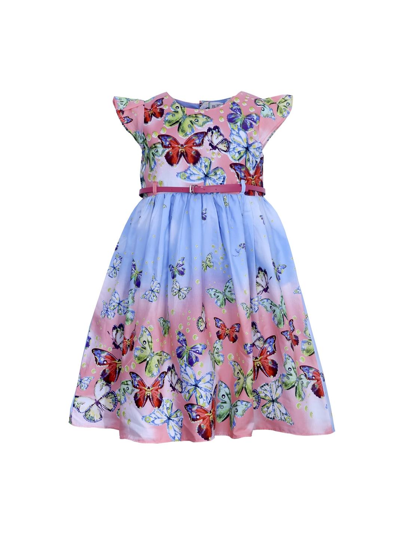 Bella Moda Girls Blue Printed Fit Amp Flare Dress Price