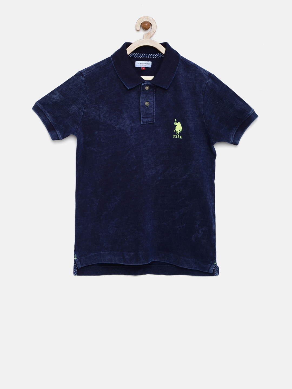 U s polo assn kids boys navy solid polo collar t shirt Us polo collar t shirts