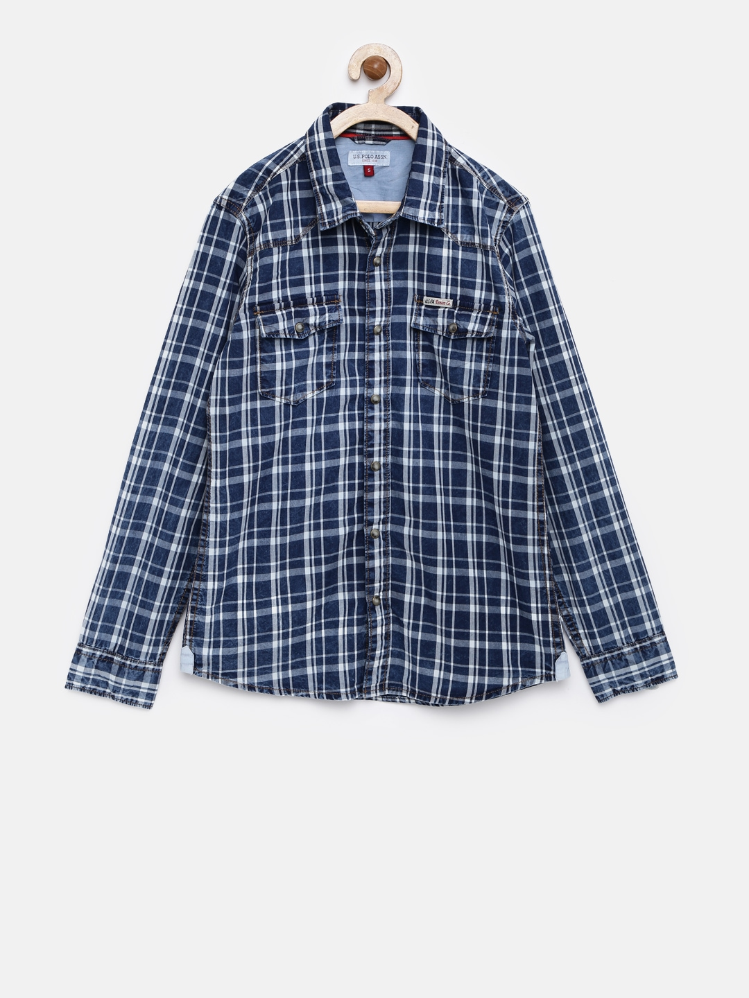 U s polo assn kids boys navy blue checked casual shirt for Us polo shirts offers