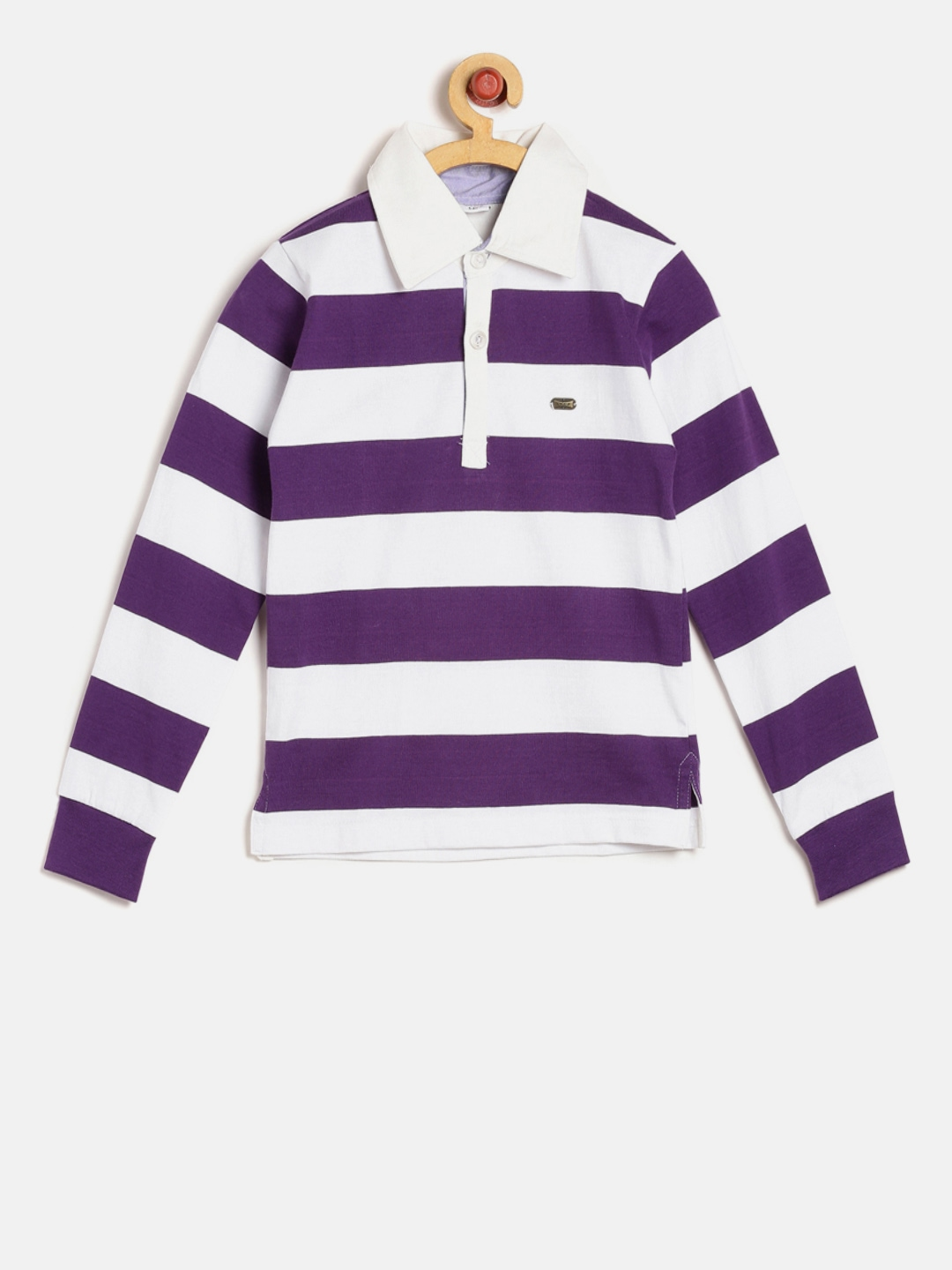 Gkidz boys purple white striped polo collar t shirt for Purple and black striped t shirt