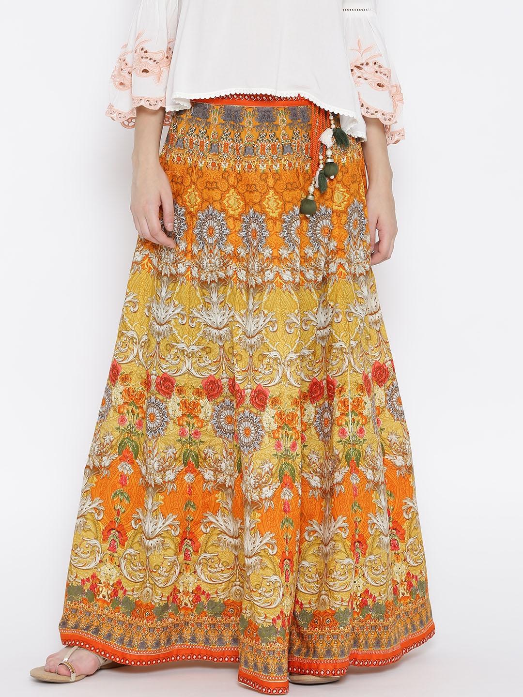shree orange mustard yellow printed maxi flared skirt