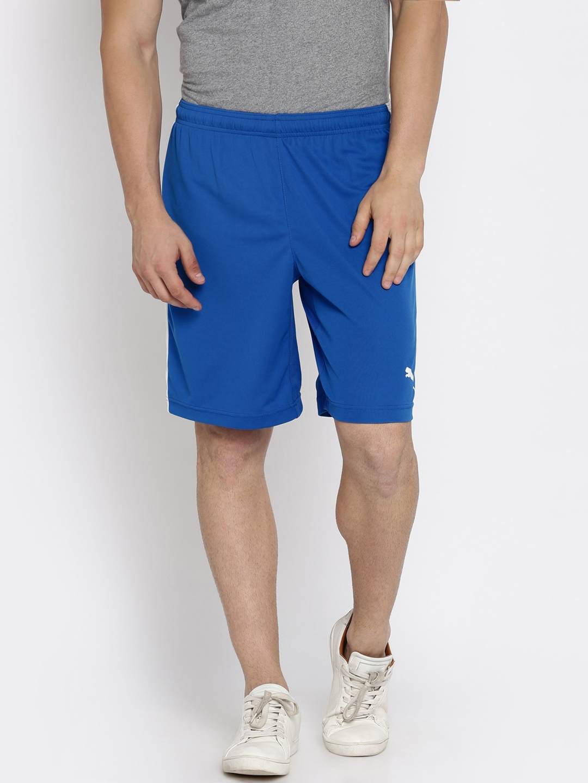 a66f2f9848b4 Puma Men Blue Solid Regular Fit Sports Shorts Puma Shorts