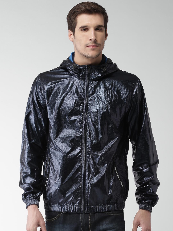 Tommy Hilfiger Men Blue Solid Sporty Jacket Tommy Hilfiger