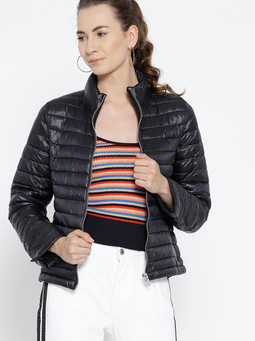 17a9c7800fa5 MANGO Women Navy Blue Solid Quilted Jacket MANGO Jackets