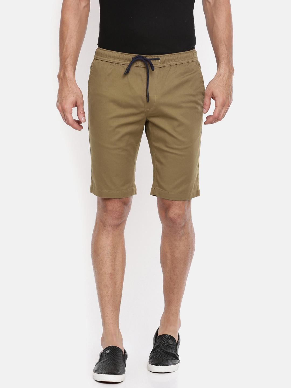 9e8839ac0999 The Indian Garage Co Men Khaki Solid Slim Fit Chino Shorts The Indian  Garage Co Shorts