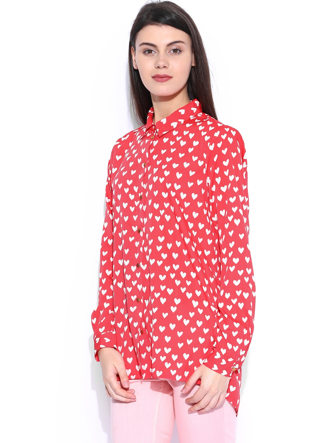 Myntra only pink printed slim tunic shirt 247360 buy for Shirts online shopping lowest price