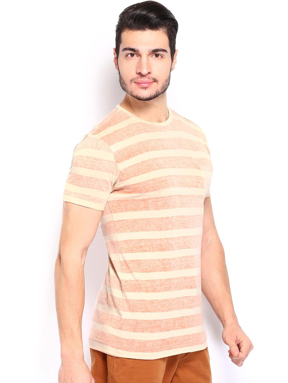Myntra breakbounce men brown cream striped paarl bear for Best striped t shirt