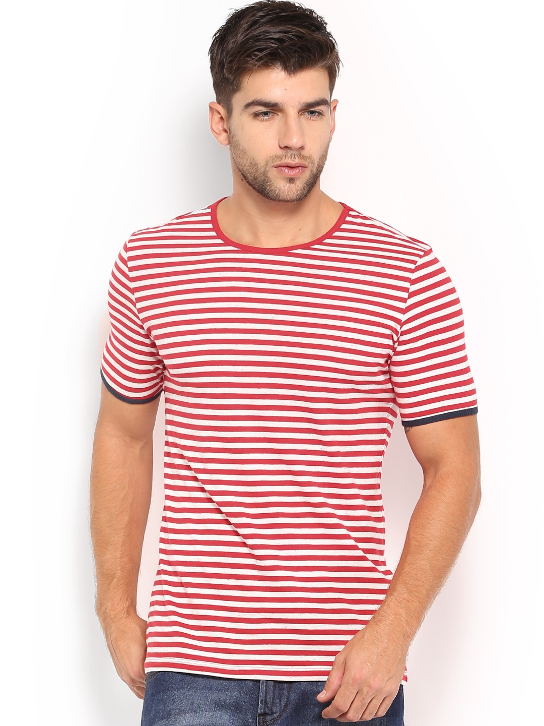 Myntra united colors of benetton men red off white for Best striped t shirt