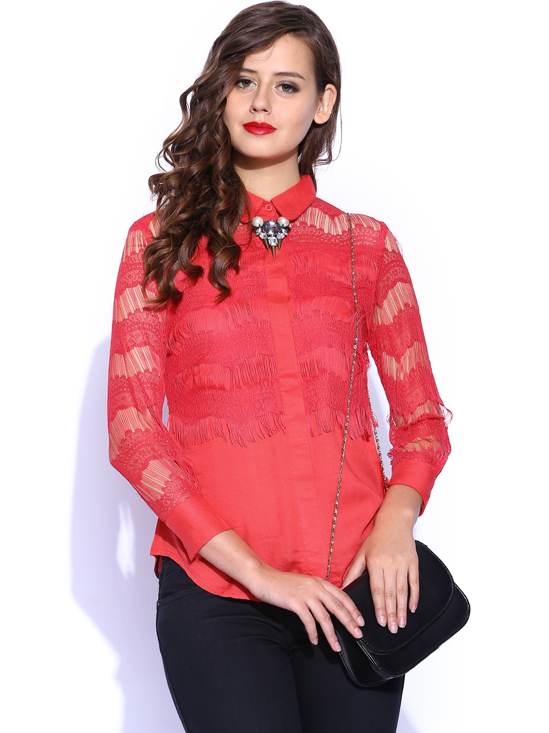 Myntra D Muse by Dressberry Women Coral Red Lace Shirt ...