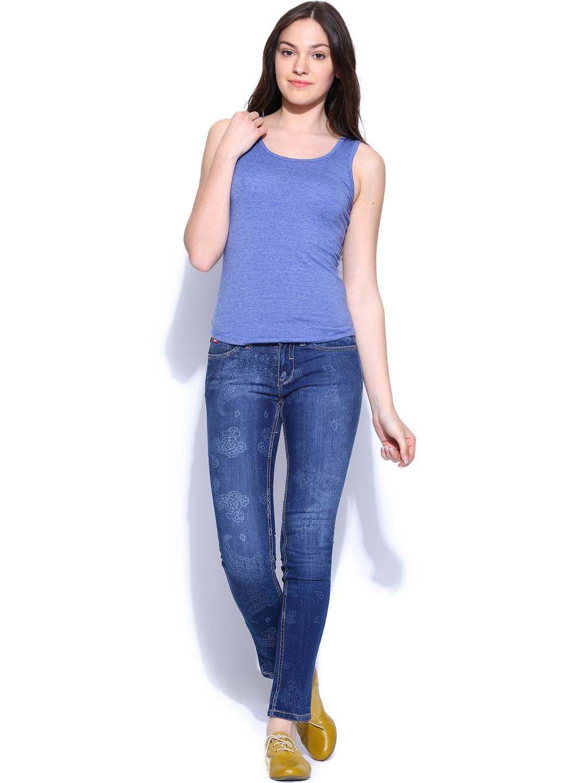 myntra lee cooper women blue printed annie slim fit jeans 299660 buy myntra lee cooper jeans. Black Bedroom Furniture Sets. Home Design Ideas