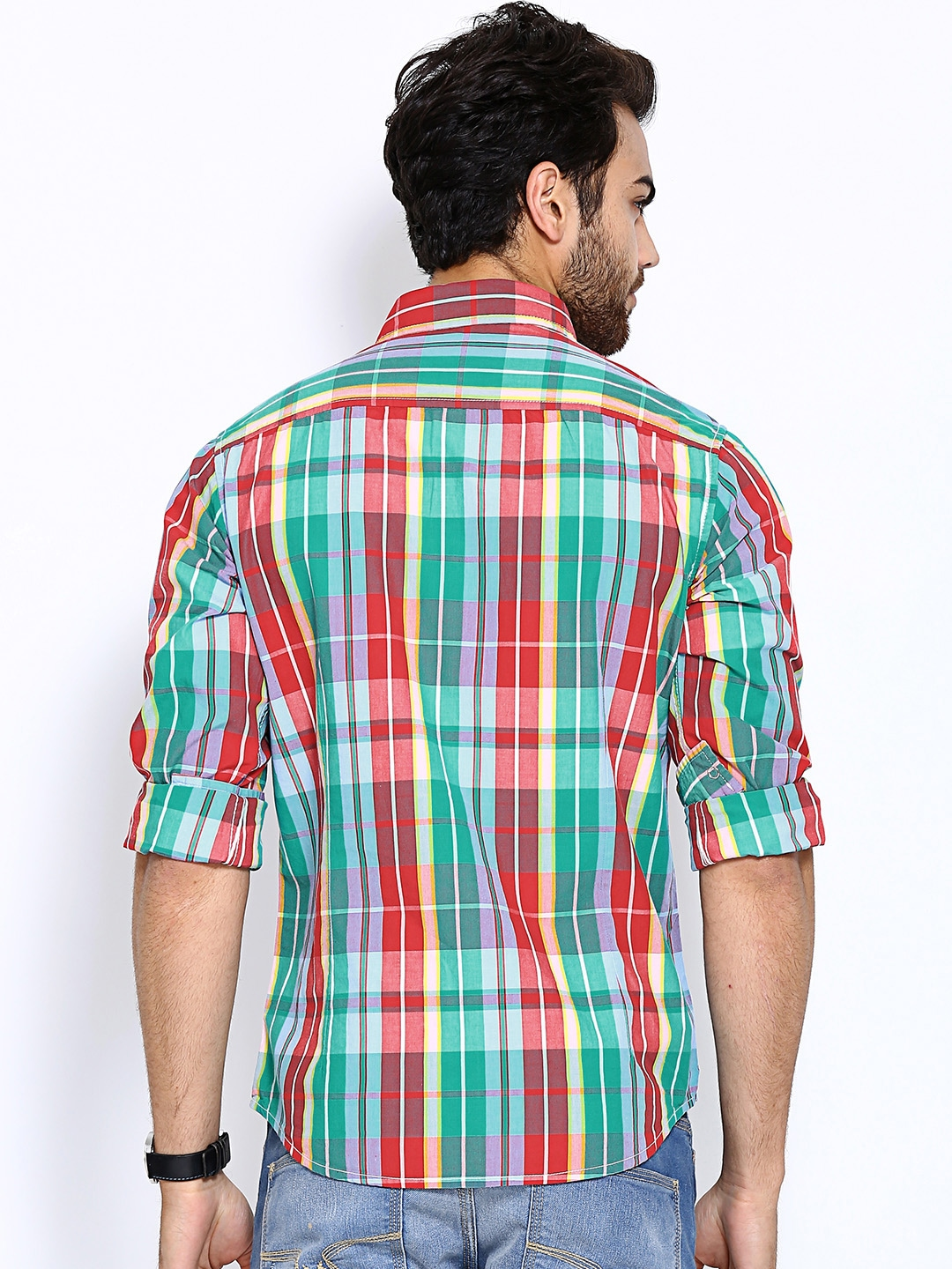 Myntra united colors of benetton men red green checked for Red and green checked shirt