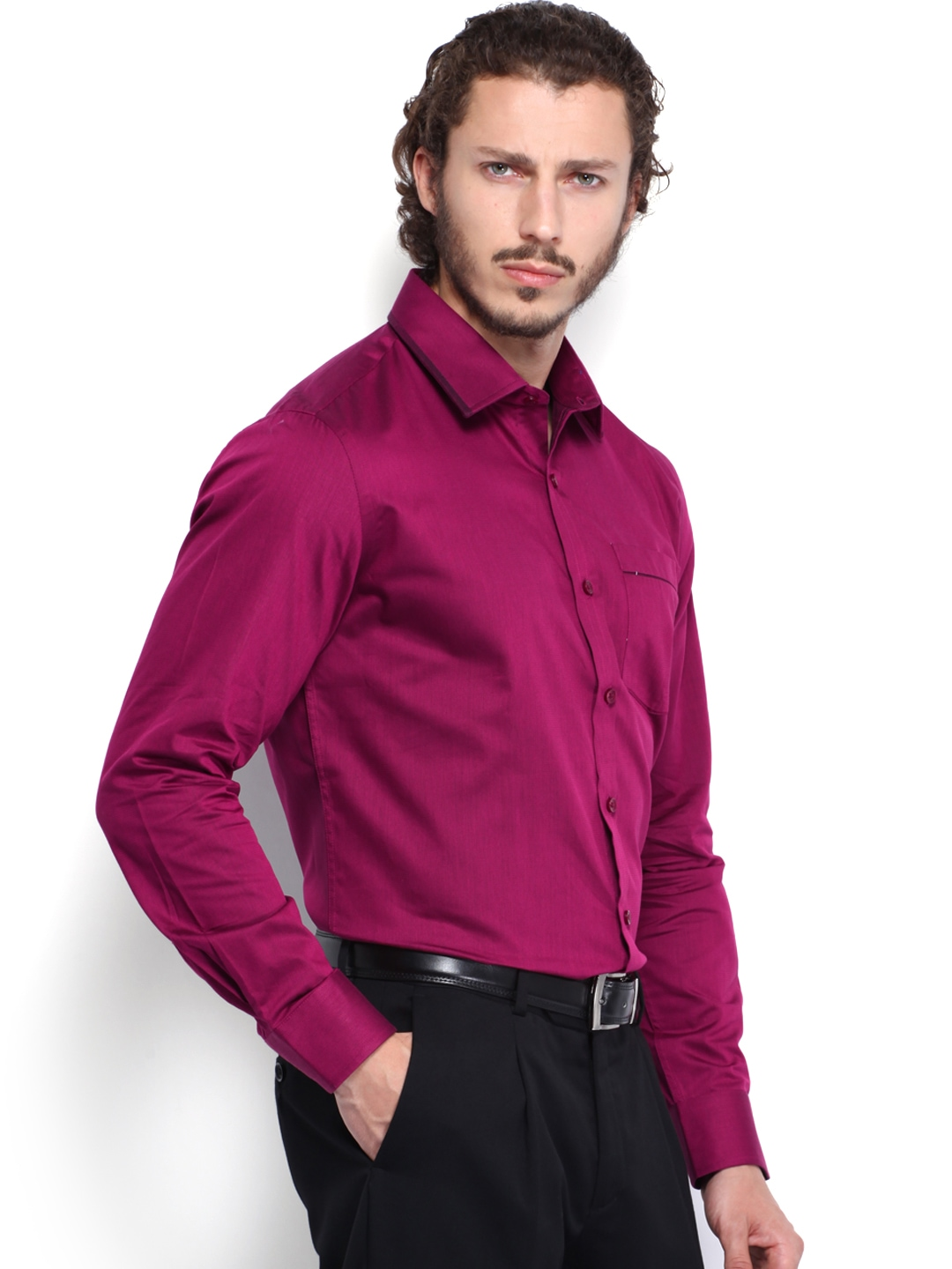 Buy Urbana Men Dark Pink Tailored Fit Formal Shirt - Shirts for ...