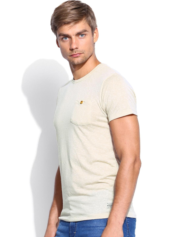 myntra jack jones men beige t shirt 378655 buy myntra. Black Bedroom Furniture Sets. Home Design Ideas