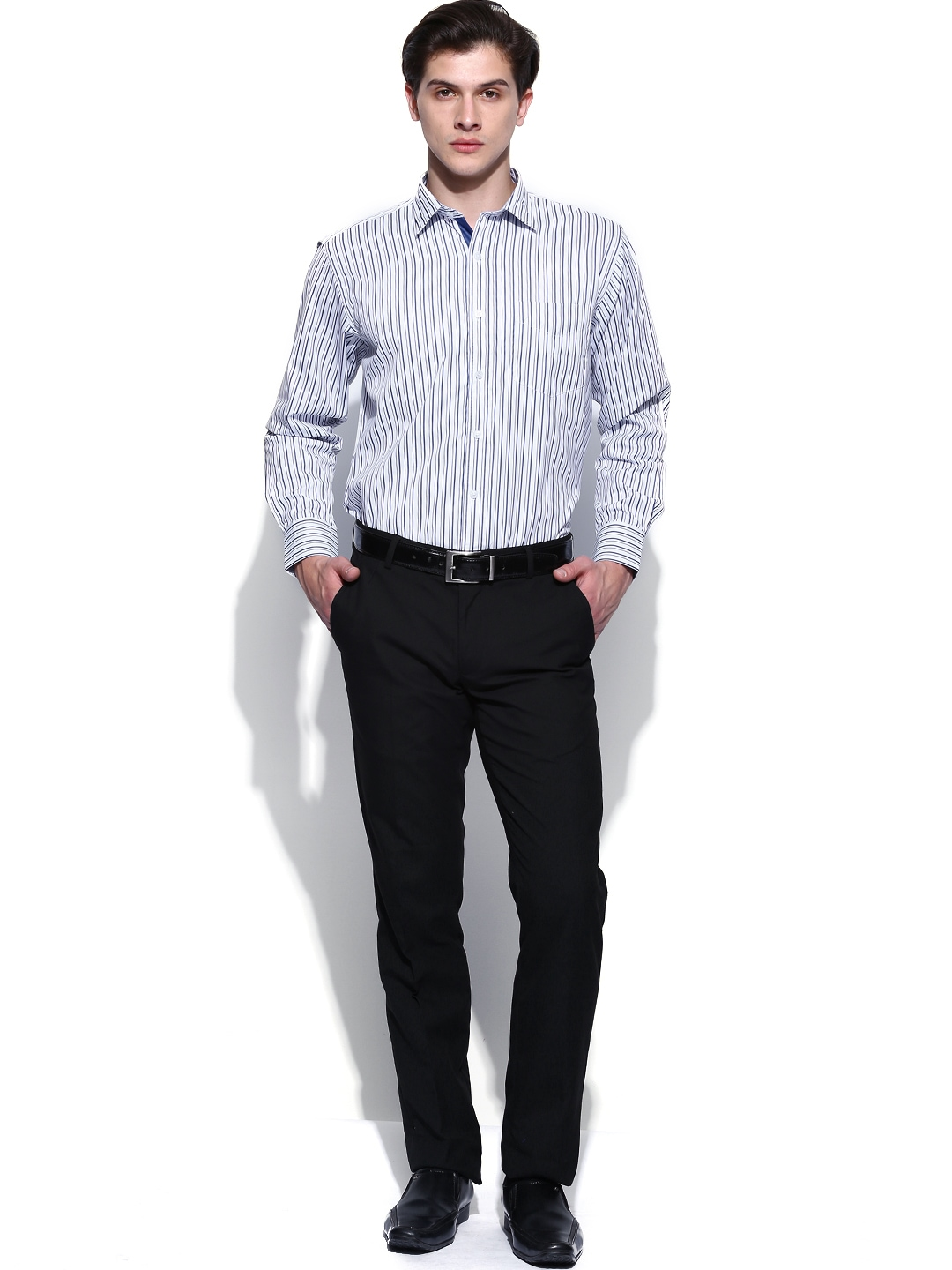 Myntra john miller men white navy striped tailored fit for Best online tailored shirts