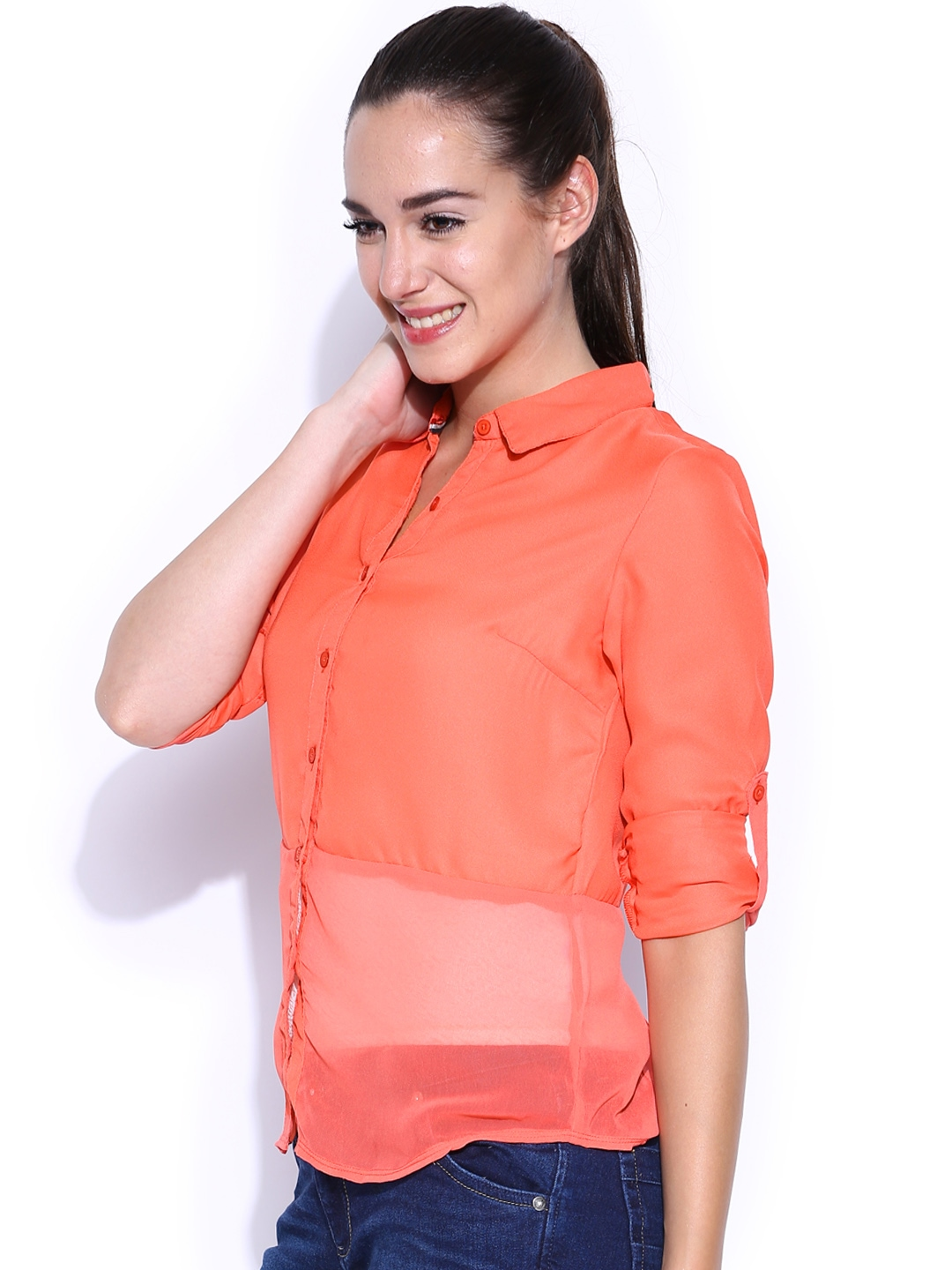 Myntra hrx women coral orange shirt 412033 buy myntra for Coral t shirt womens