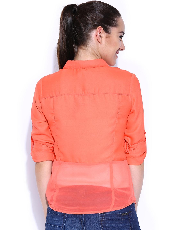 Myntra hrx women coral orange shirt 412033 buy myntra for Shirts online shopping lowest price