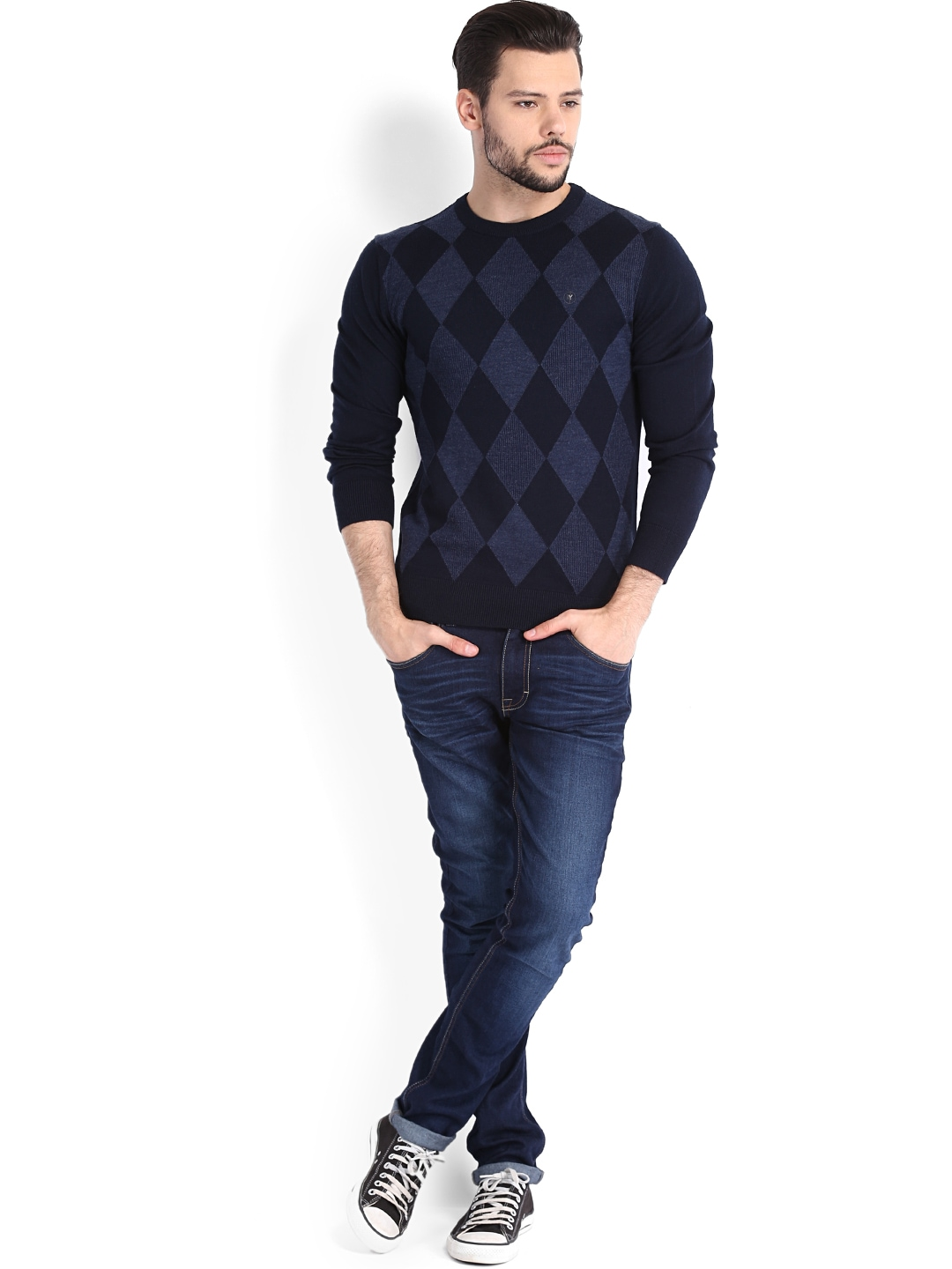 View product details more sweaters by arrow new york more navy blue
