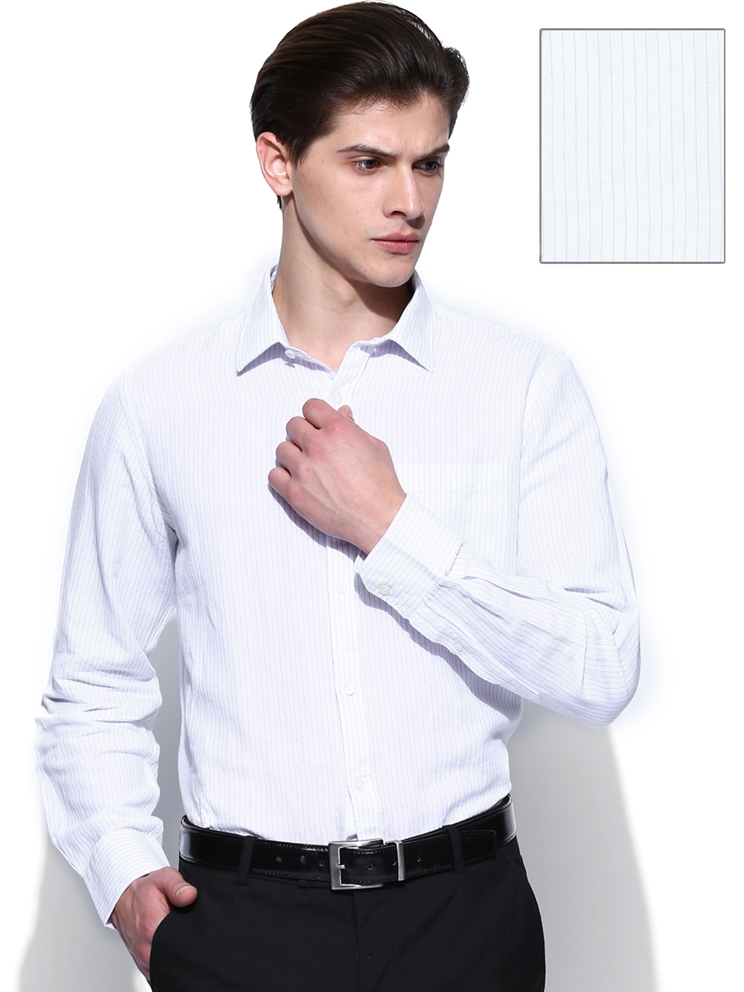 Myntra elitus men white blue linen blend tailored for Boys white formal shirt