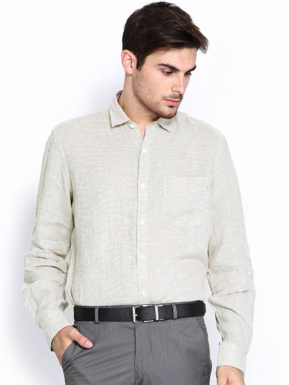 Myntra true linen lombard men beige white slim fit linen for Slim fit white linen shirt