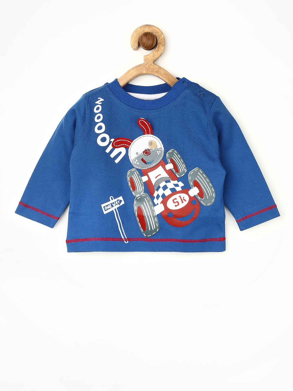Myntra yellow kite baby boys blue printed t shirt 511919 for Boys printed t shirts