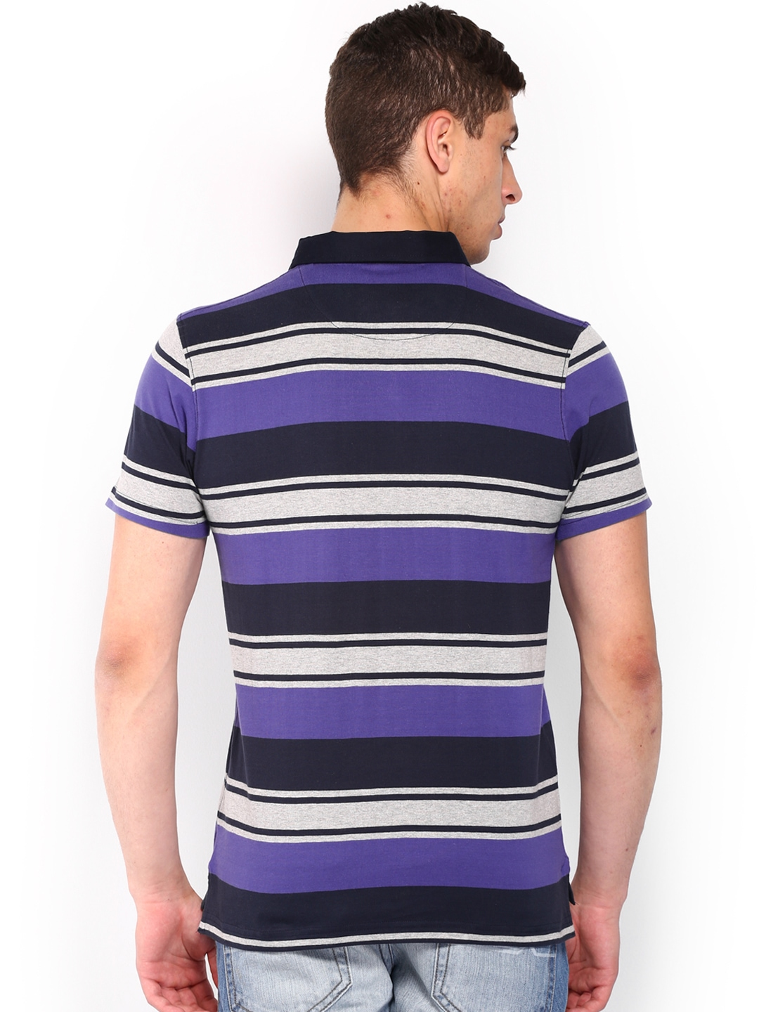 Myntra roadster men navy purple striped polo t shirt for Purple and black striped t shirt