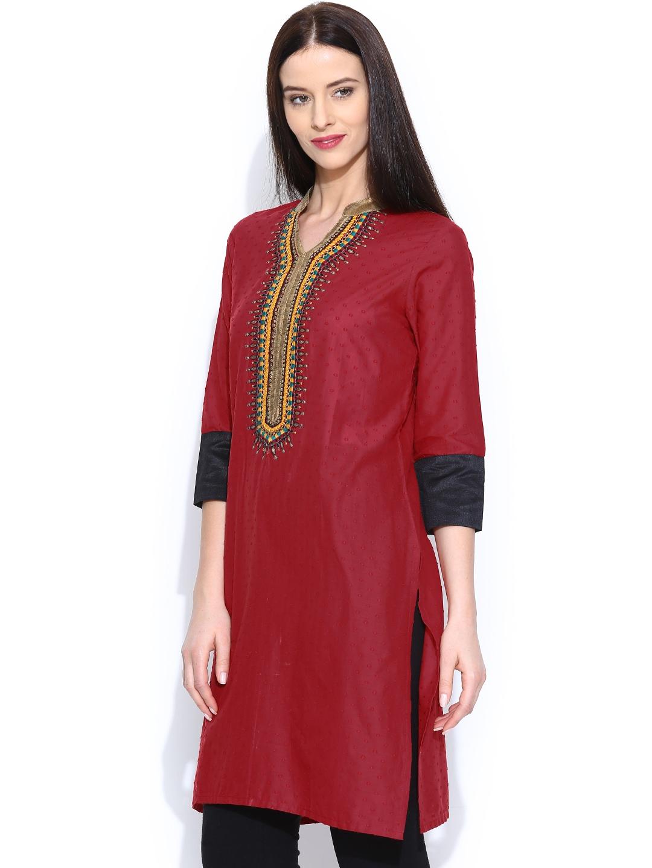 Myntra SPANDANA Women Red Embroidered Kurta 529961  Buy