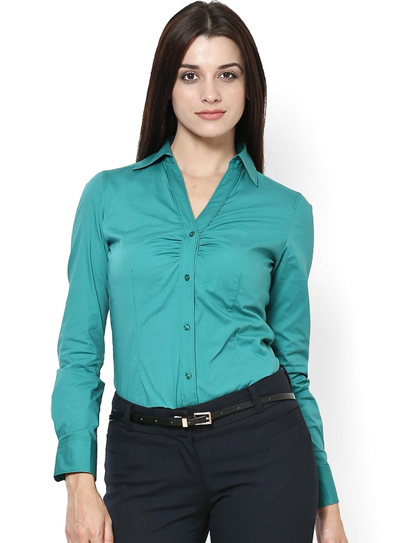 Myntra kaaryah women green formal shirt 531233 buy for Shirts online shopping lowest price