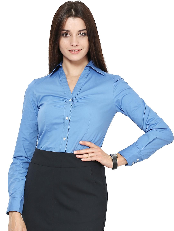 Myntra kaaryah women blue formal shirt 531234 buy myntra for Shirts online shopping lowest price