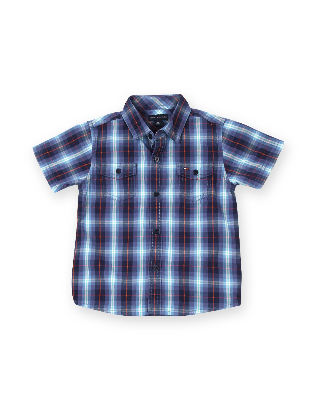 Myntra tommy hilfiger boys blue checked shirt 534834 buy for Shirts online shopping lowest price