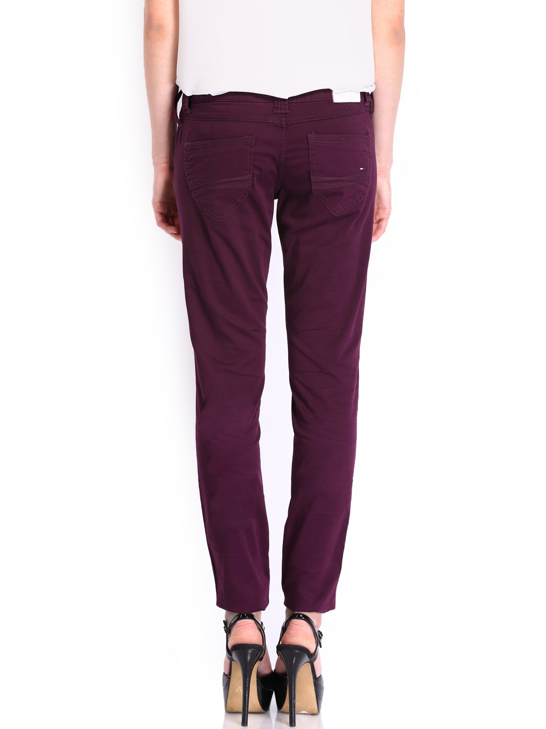 myntra tommy hilfiger women purple sophie skinny fit. Black Bedroom Furniture Sets. Home Design Ideas
