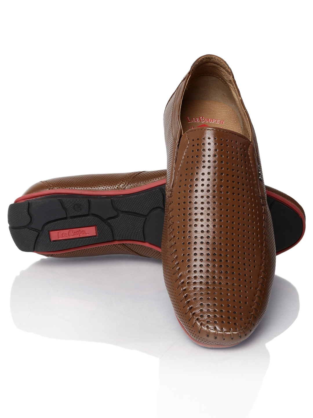 Lee Cooper Brown Textured Leather Slip On Shoes