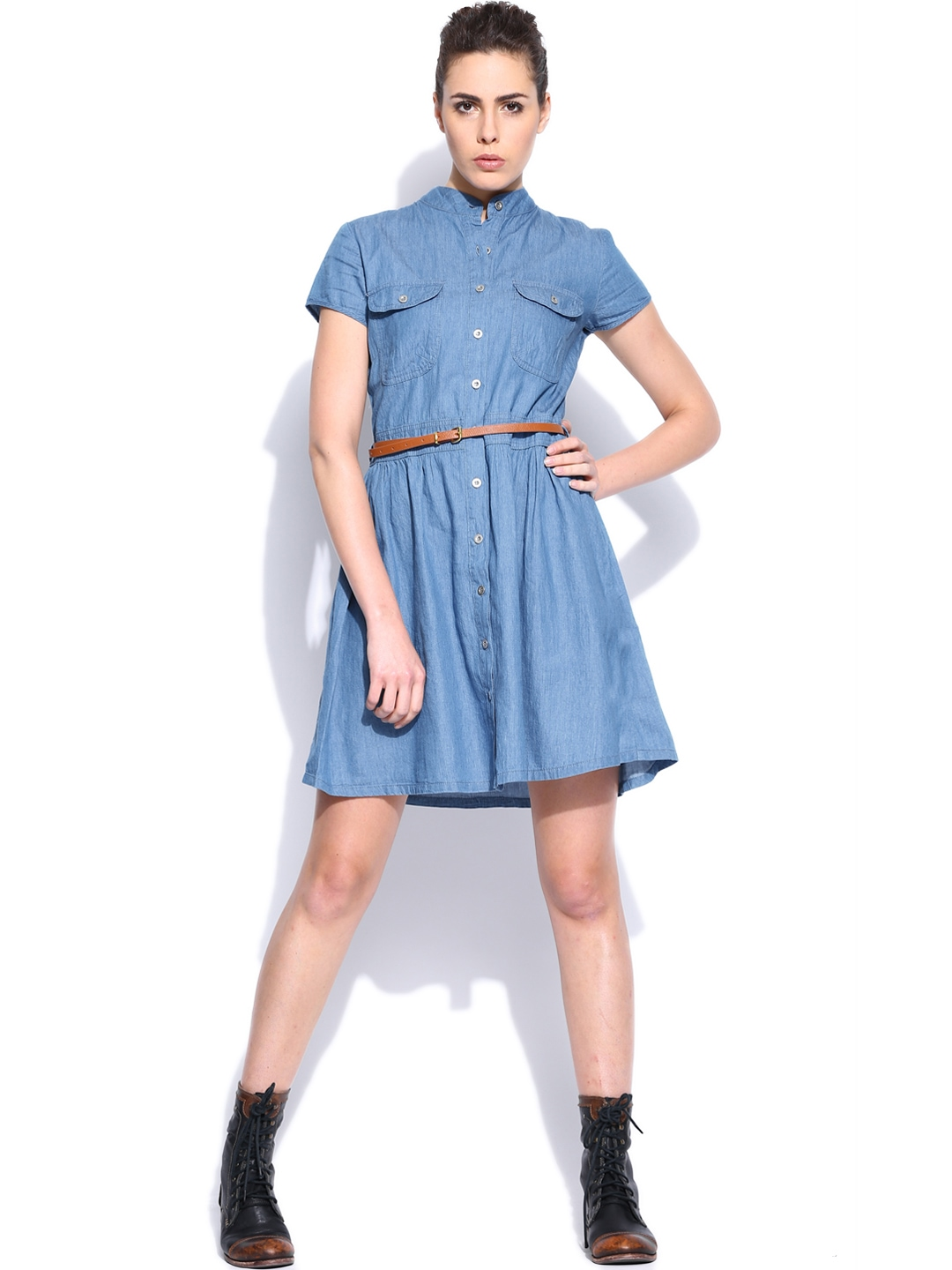 Myntra Roadster Blue Chambray Belted Dress 560947 Buy
