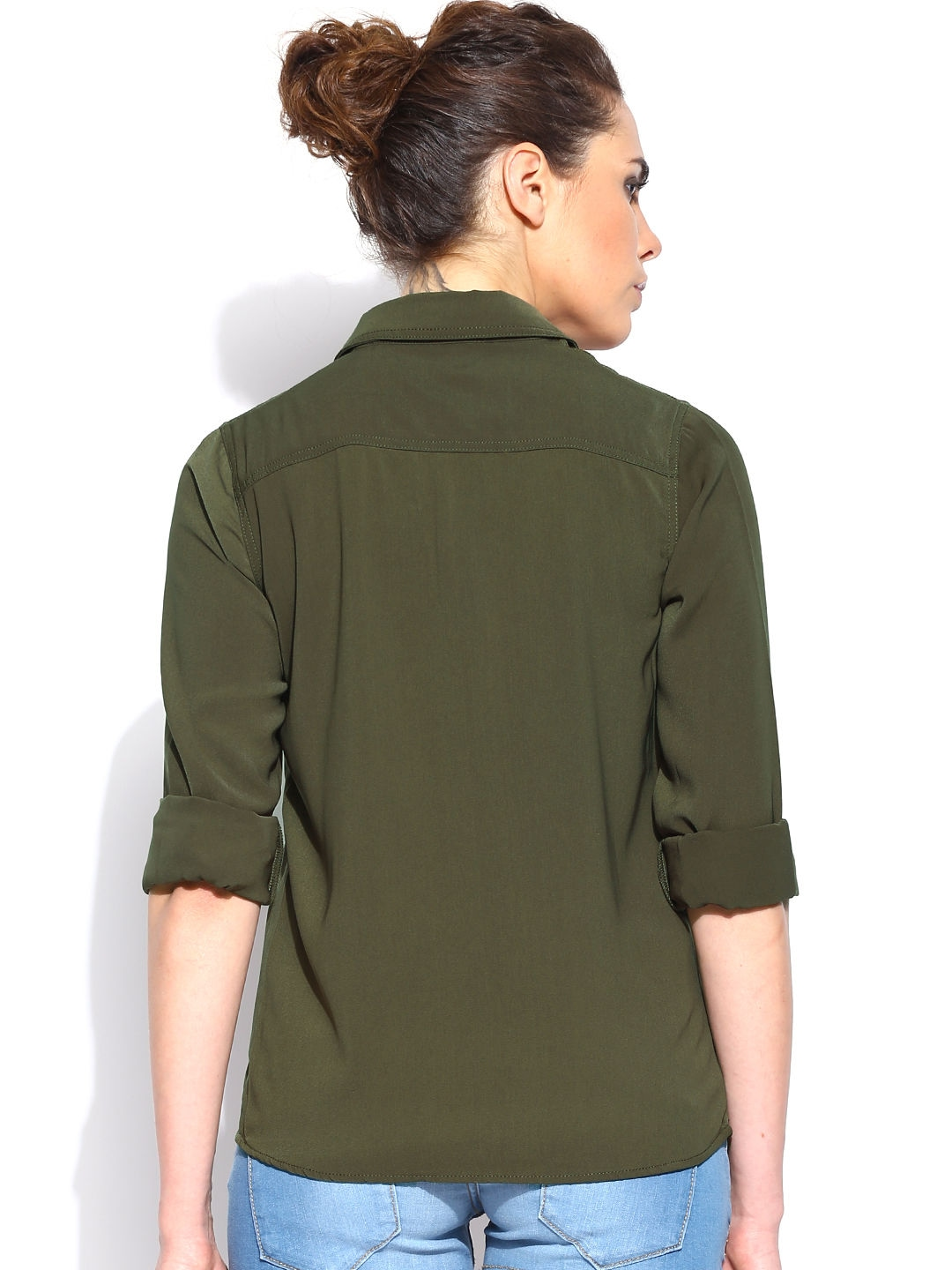 Myntra Roadster Women Olive Green Shirt 560963 Buy