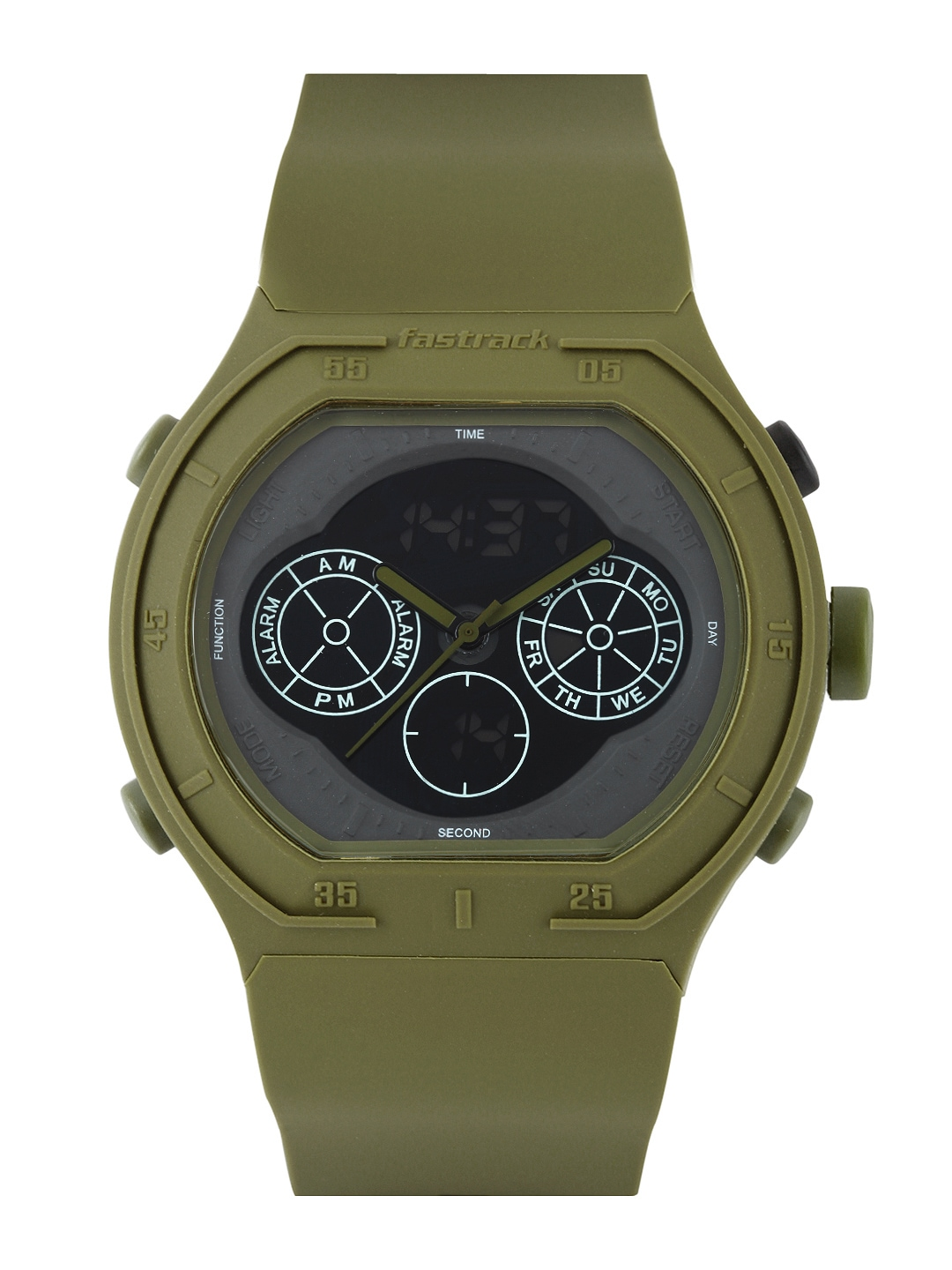 myntra fastrack green analogue digital