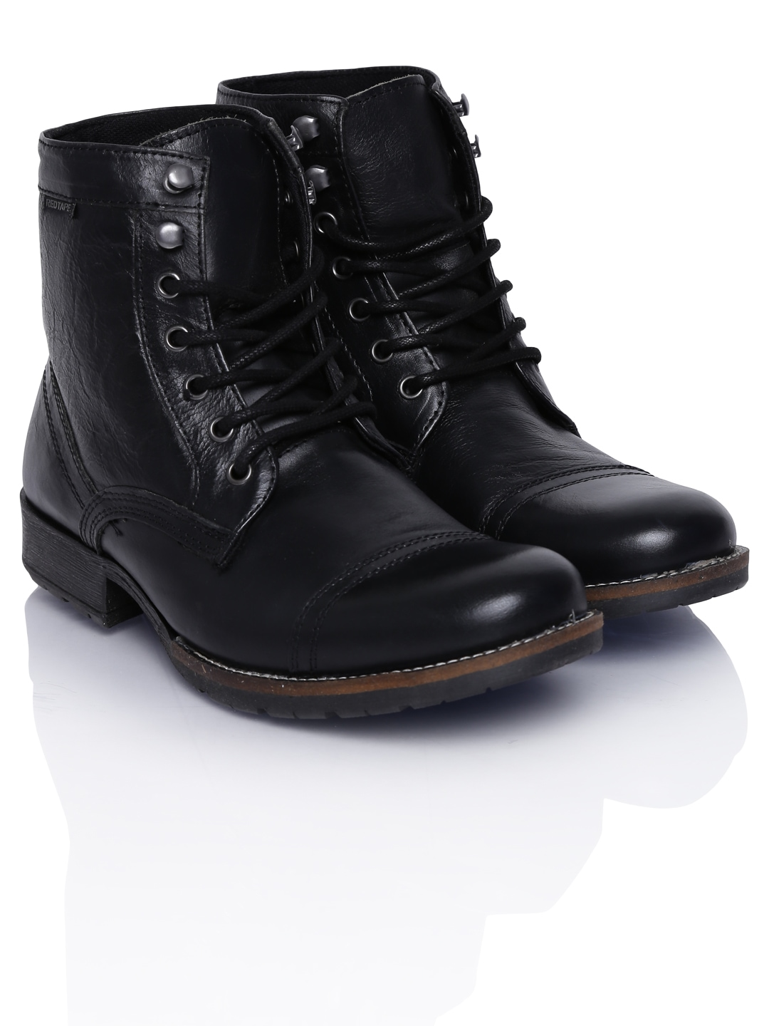 myntra red tape men black leather boots 563271 buy