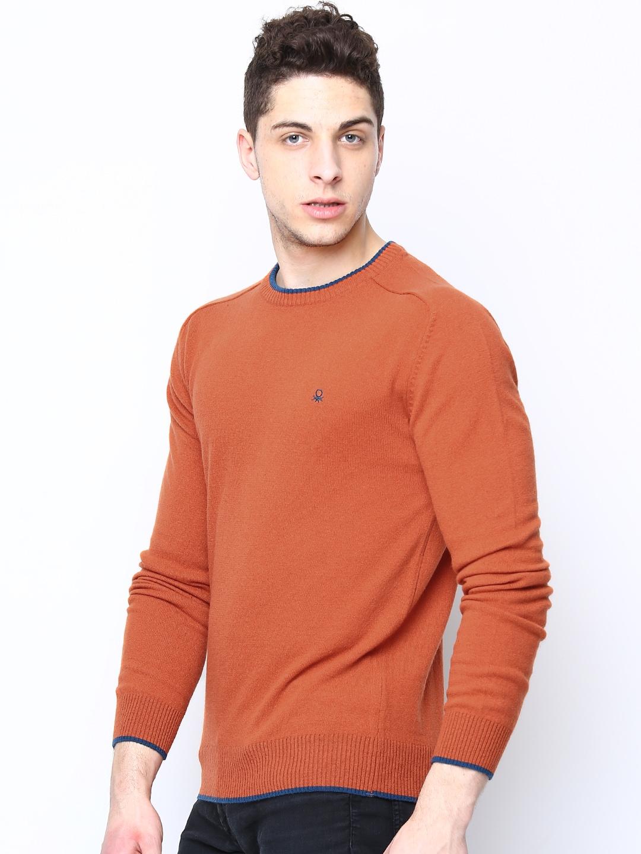 Myntra United Colors of Benetton Men Orange Wool Blend Sweater