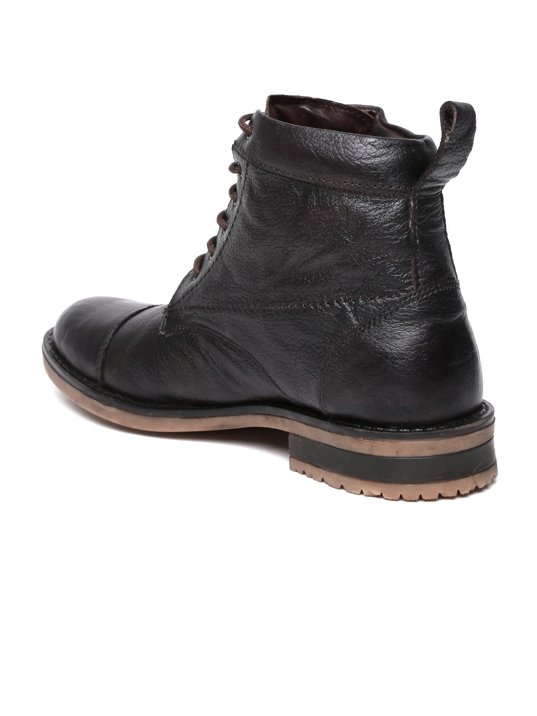 myntra roadster brown leather boots 580575 buy