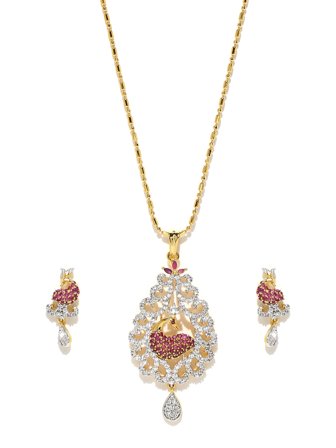 myntra sukkhi goldplated earrings amp pendant set with