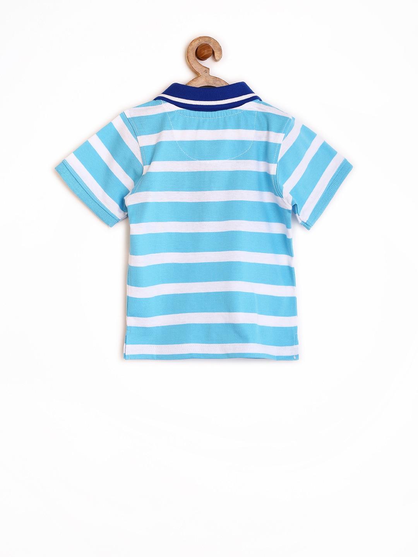 Myntra yellow kite boys blue white striped polo t shirt for Blue white striped t shirt