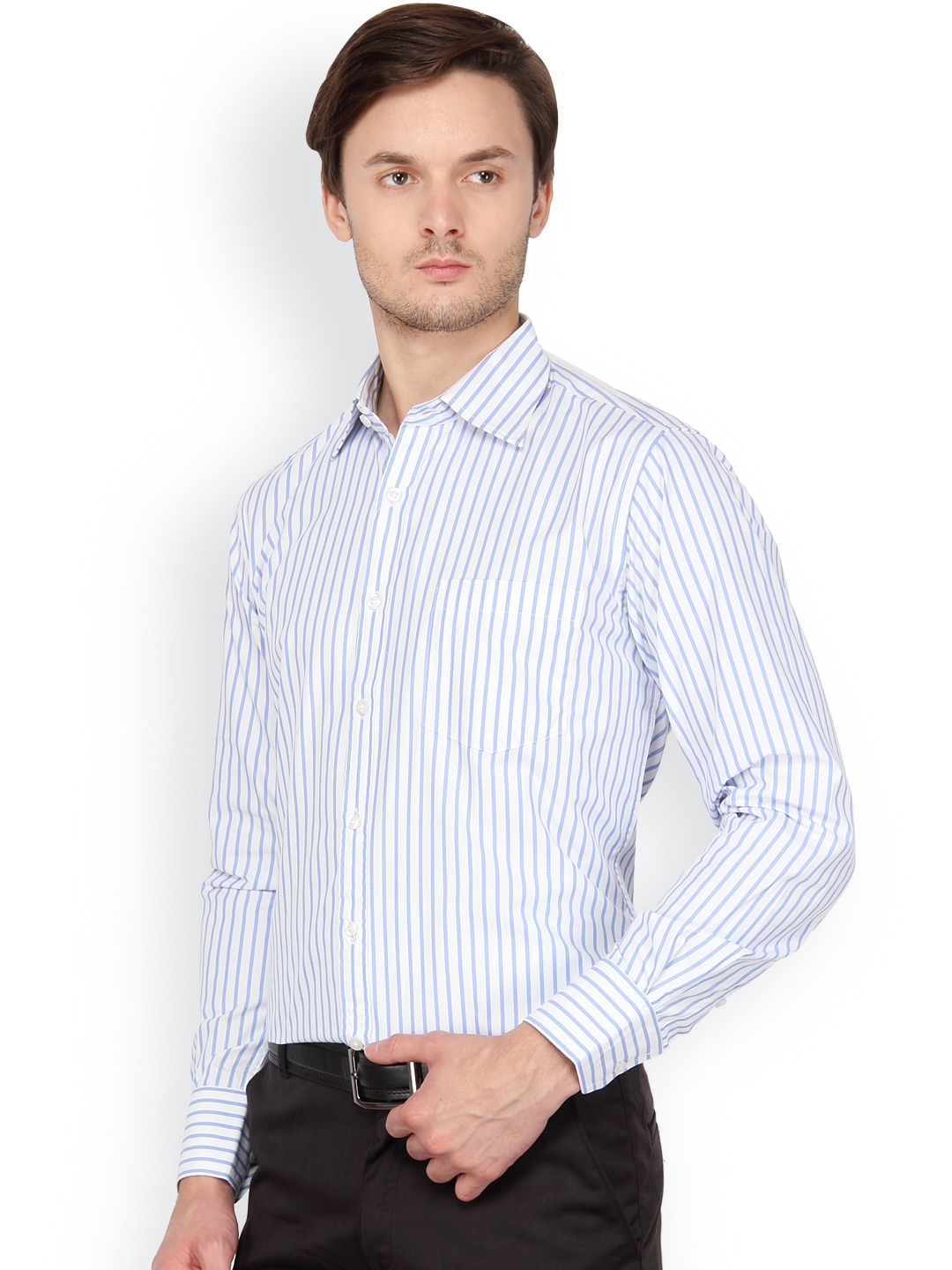 Myntra copperline men white blue striped formal shirt for Boys white formal shirt